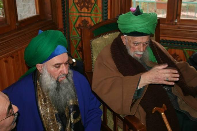 Mawlana Shaykh Nazim and Sahibu Saif Shaykh Abdul Kerim Al-Kibrisi (Q.S)